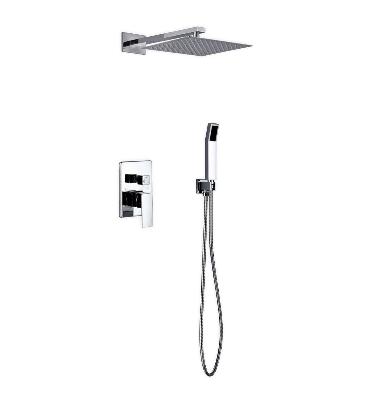 Aqua Piazza Brass Shower Set W 12 Square Rain Shower And Handheld
