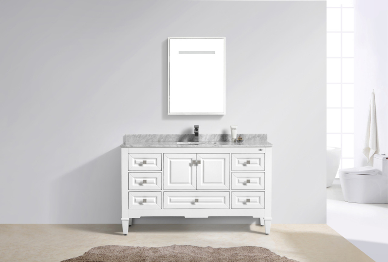 Super Syca 60 Single Sink White Bathroom Vanity With Carrara Marble Top Download Free Architecture Designs Pushbritishbridgeorg