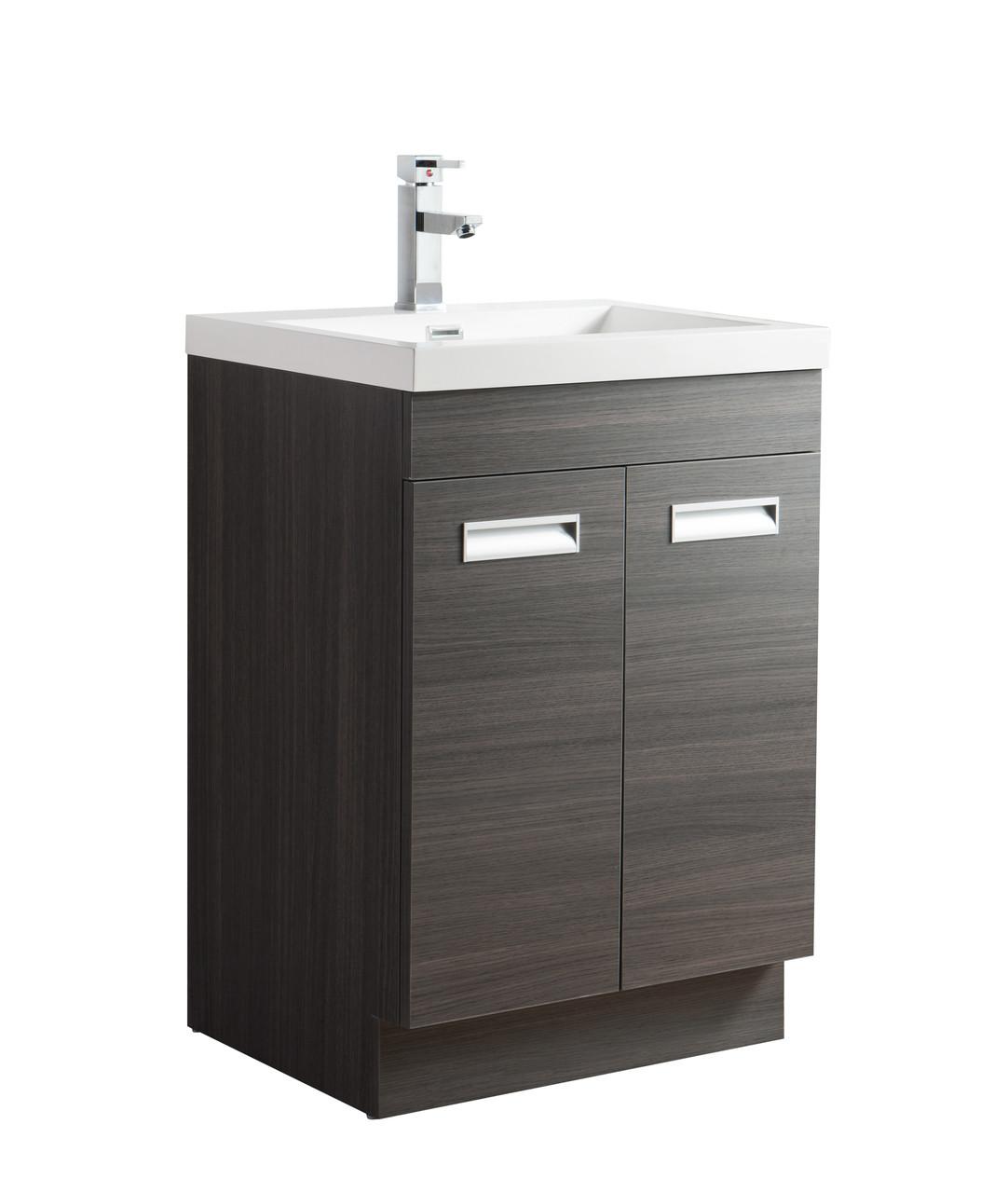 Alma 24 Grey Oak Free Standing Modern Bathroom Vanity