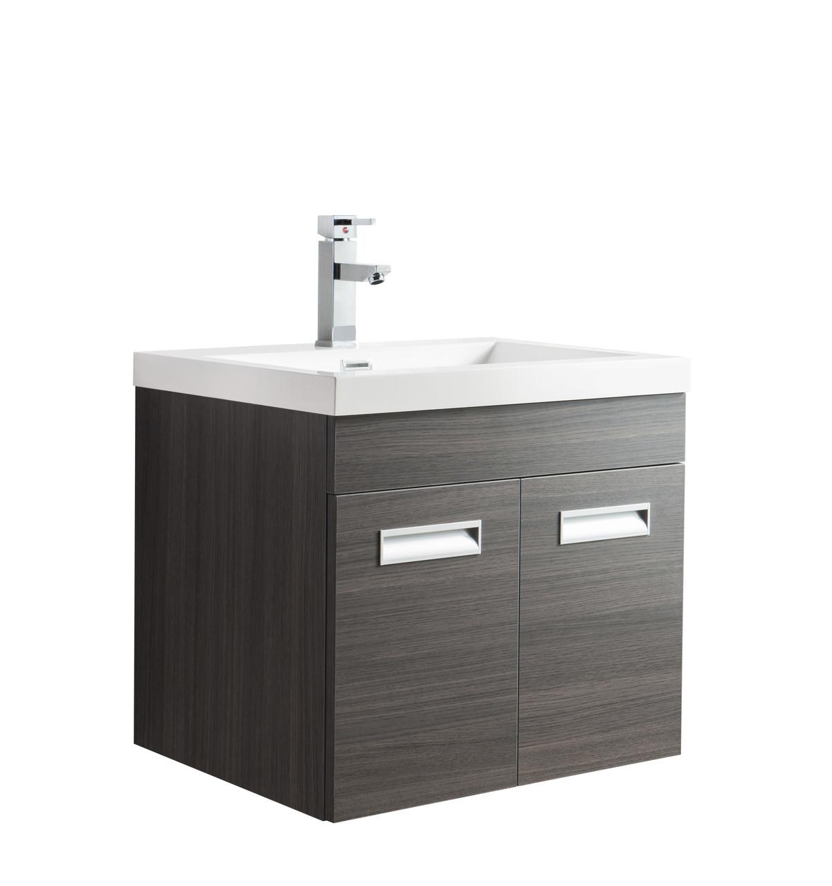 Alma 24 Grey Oak Wall Hung Modern Bathroom Vanity
