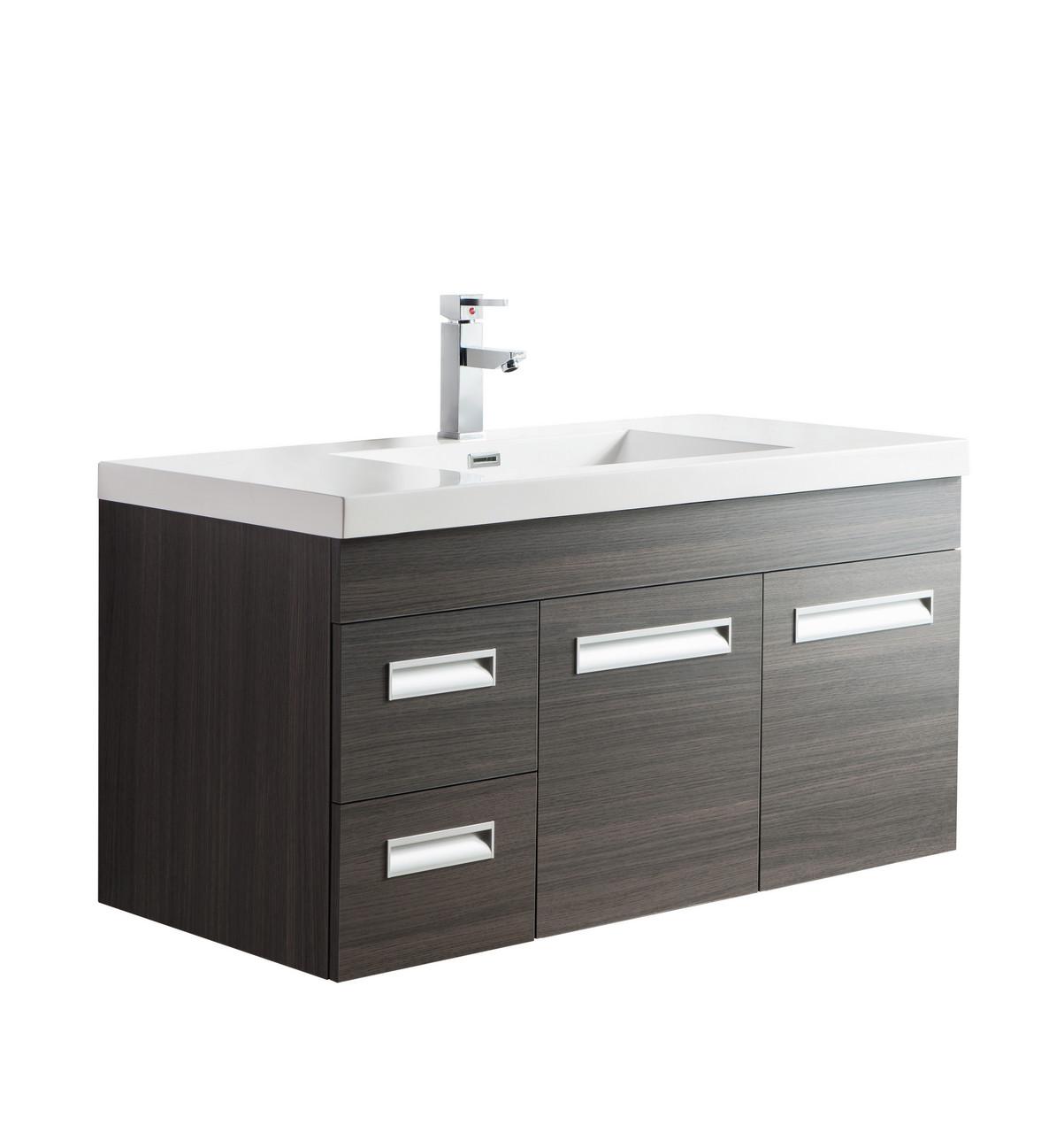 Alma 42 Grey Oak Wall Hung Left Side Modern Bathroom Vanity Bathroom Vanities Wholesale Inc