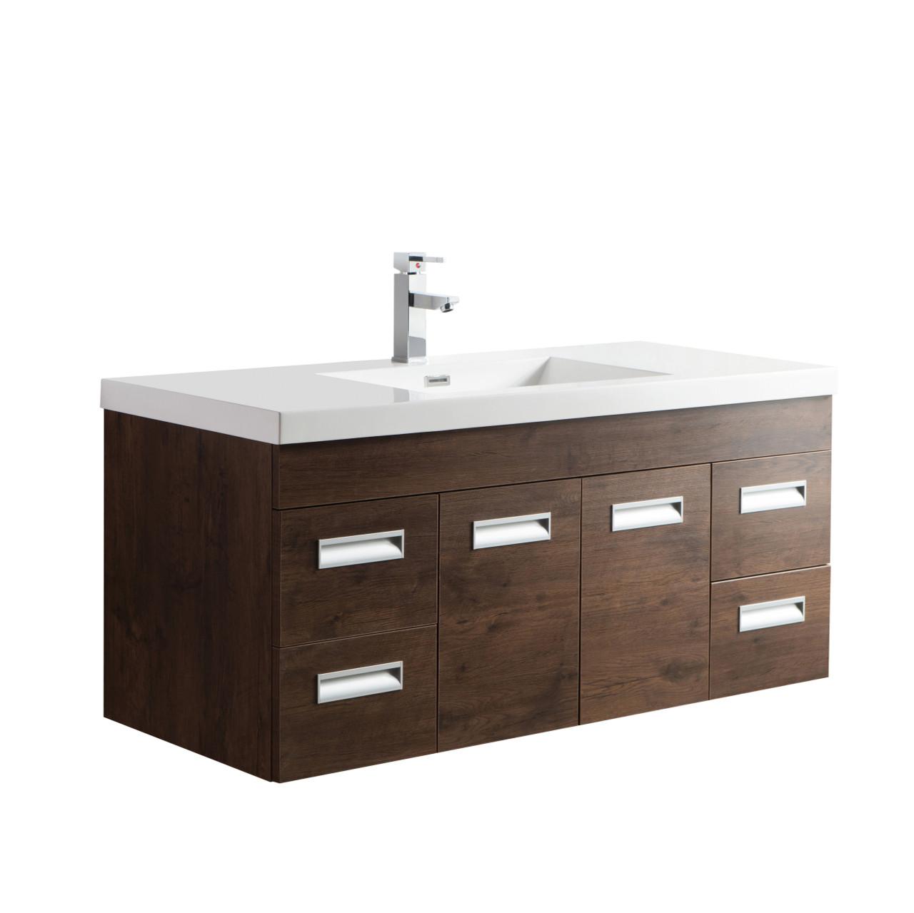Alma 48 Rosewood Wall Hung Modern Bathroom Vanity Bathroom Vanities Wholesale Inc