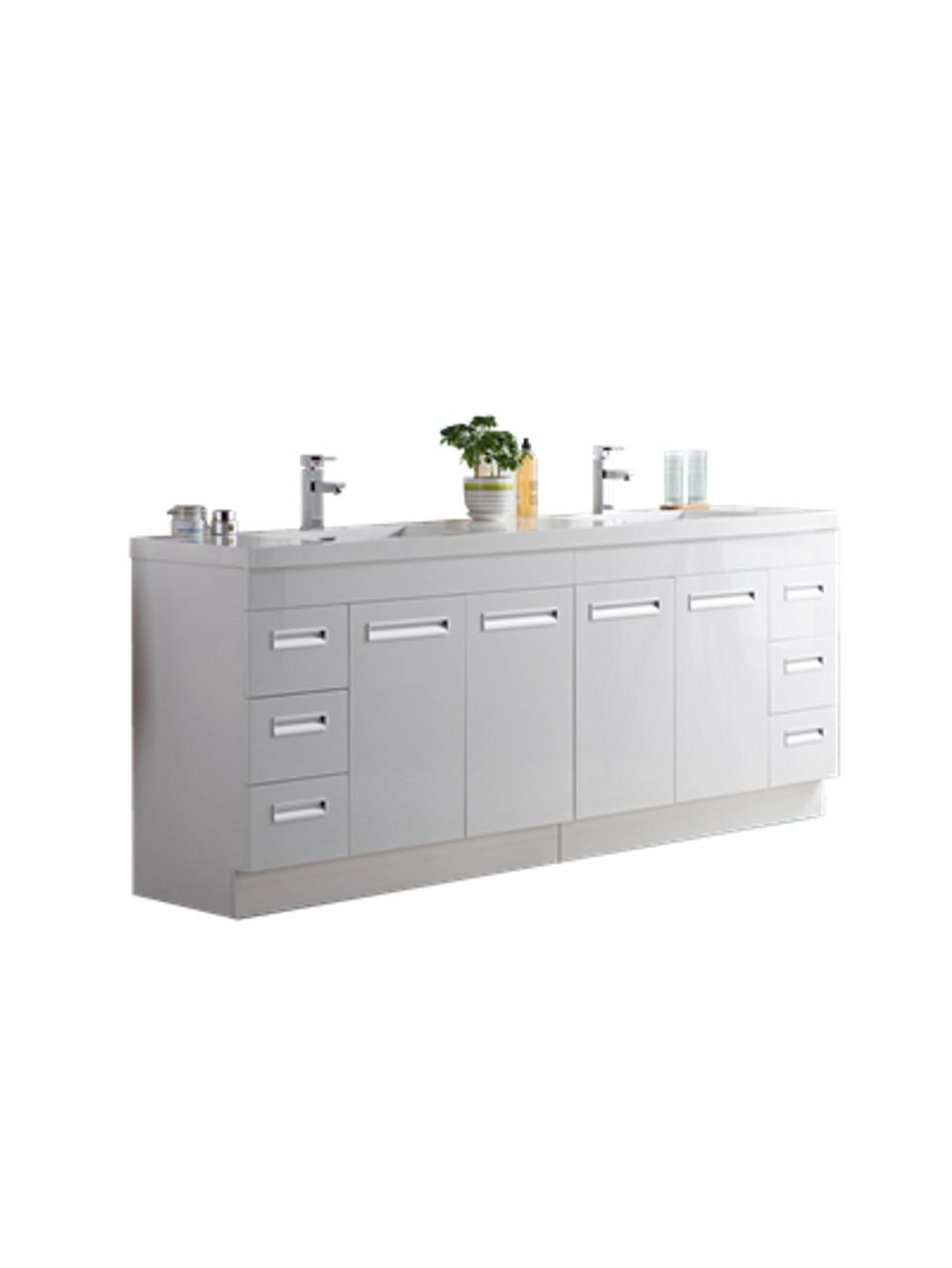Alma 84 Glossy White Free Standing Modern Bathroom Vanity Bathroom Vanities Wholesale Inc