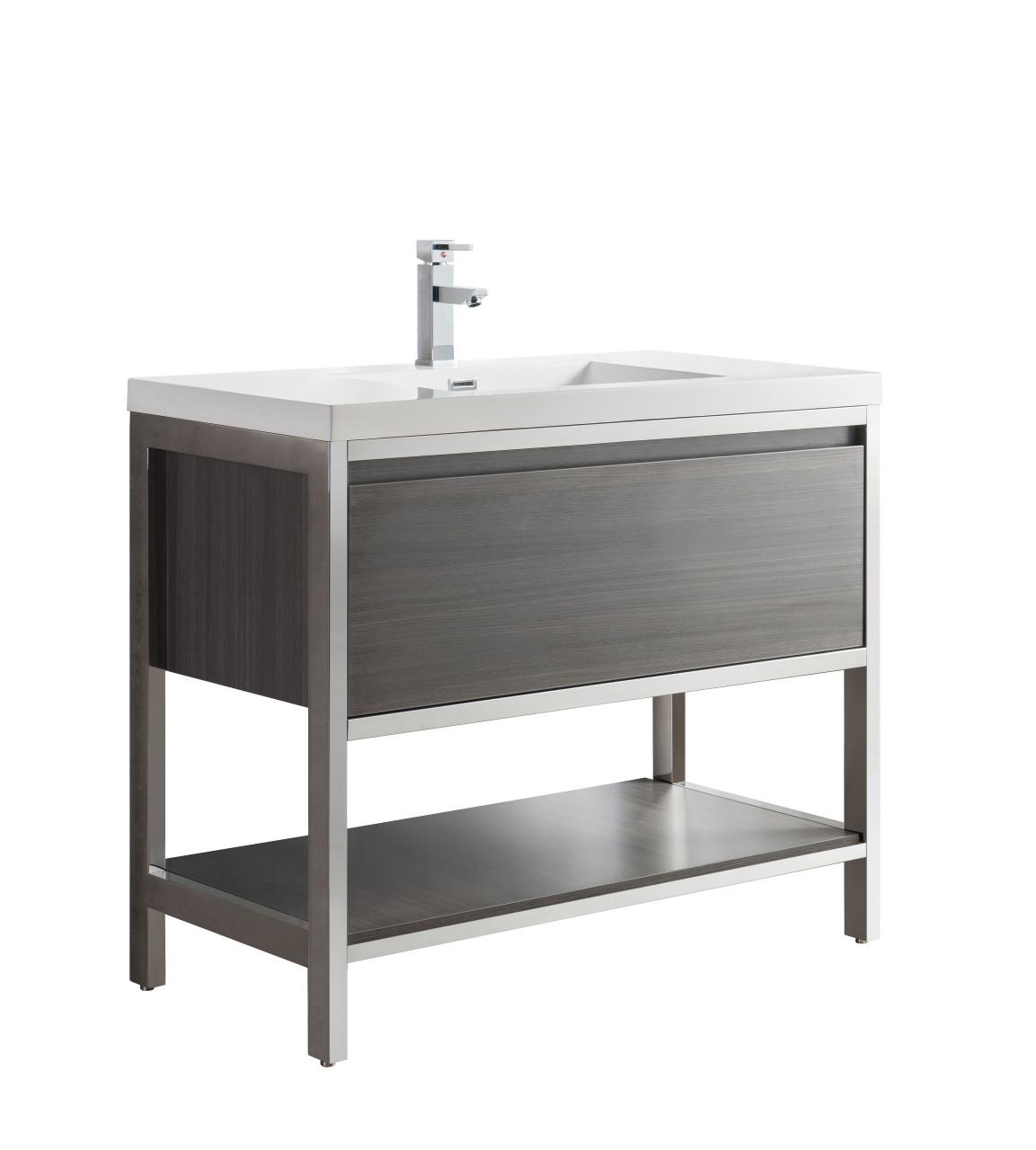 Lake 42 Grey Oak Free Standing Modern Bathroom Vanity With Chrome Stainless Steel Frame With Acrylic Sink Bathroom Vanities Wholesale Inc