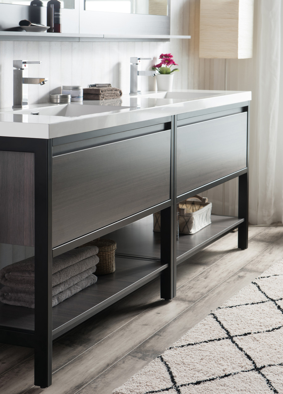 Lake 84 Grey Oak Free Standing Modern Bathroom Vanity With Matte Black Stainless Steel Frame With Acrylic Sink Bathroom Vanities Wholesale Inc