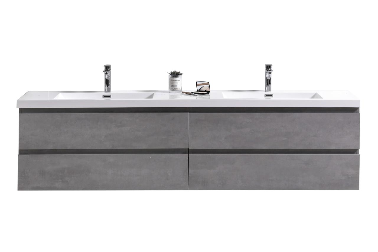 Moreno Mob 72 Double Sink Concrete Grey Wall Mounted Modern Bathroom Vanity With Reeinforced Acrylic Sink Bathroom Vanities Wholesale Inc