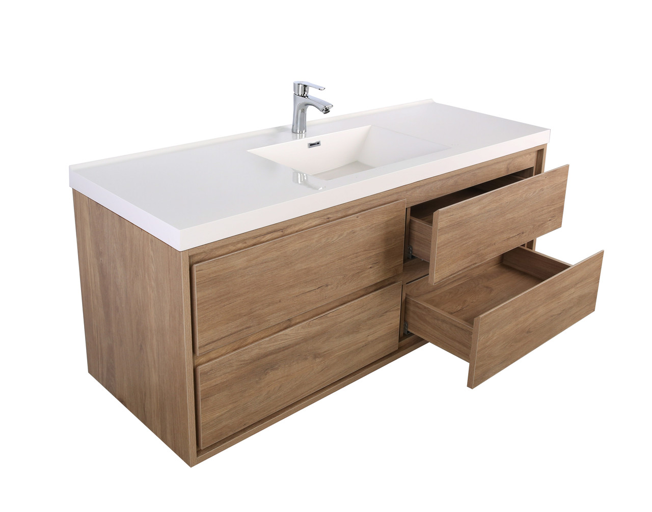 Molly 60 Single Sink Teak Oak Wall Mounted Modern Vanity Bathroom Vanities Wholesale Inc