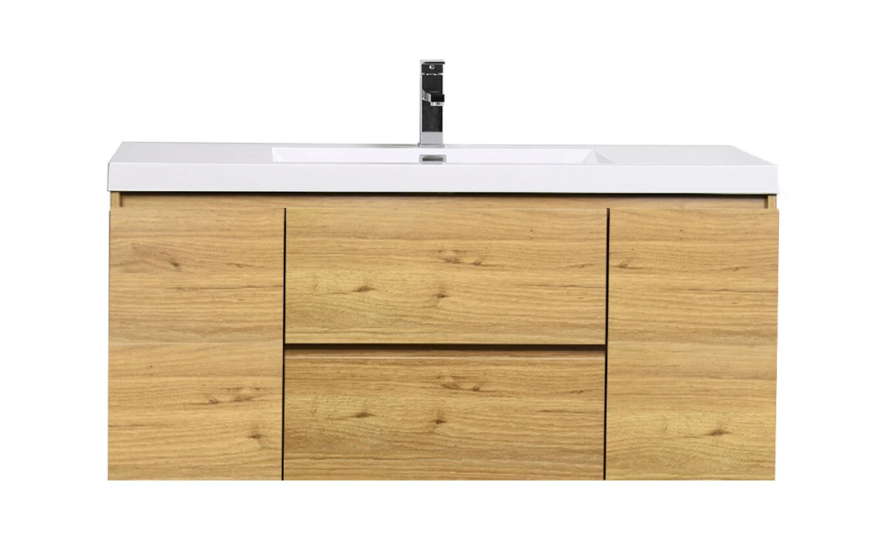 Moreno Mob 48 Natural Oak Wall Mounted Modern Bathroom Vanity With Reinforced Acrylic Sink Bathroom Vanities Wholesale Inc