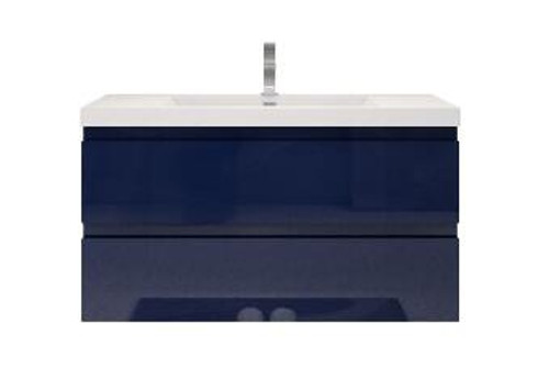 "MORENO MOB 42"" HIGH GLOSS NIGHT BLUE WALL MOUNTED MODERN BATHROOM VANITY"