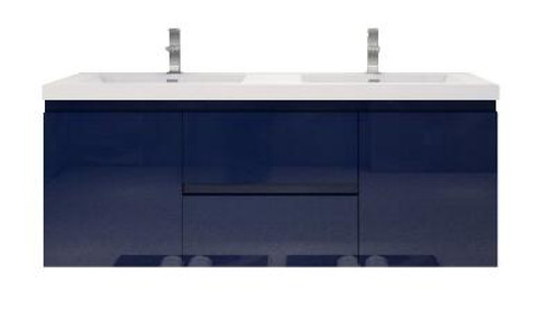 """MORENO MOB 60"""" DOUBLE SINK HIGH GLOSS NIGHT BLUE WALL MOUNTED MODERN BATHROOM VANITY WITH REEINFORCED ACRYLIC SINK"""
