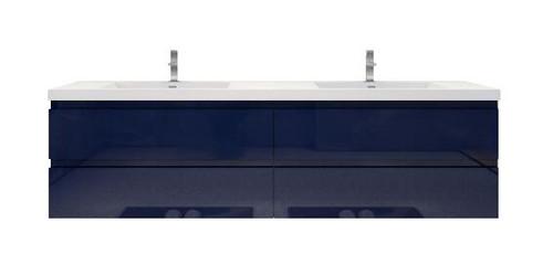 "Moreno Mob 84"" High Gloss Night Blue  Wall Mounted Modern Bathroom Vanity With Reinforced Acrylic Sink"