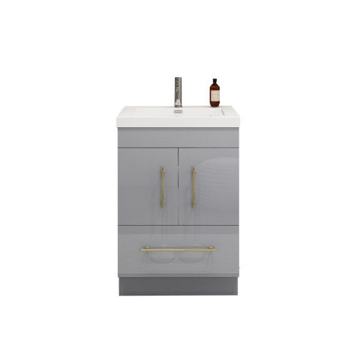 "ELSA 24"" GLOSSY GRAY FREESTANDING VANITY WITH REINFORCED ACRYLIC SINK"