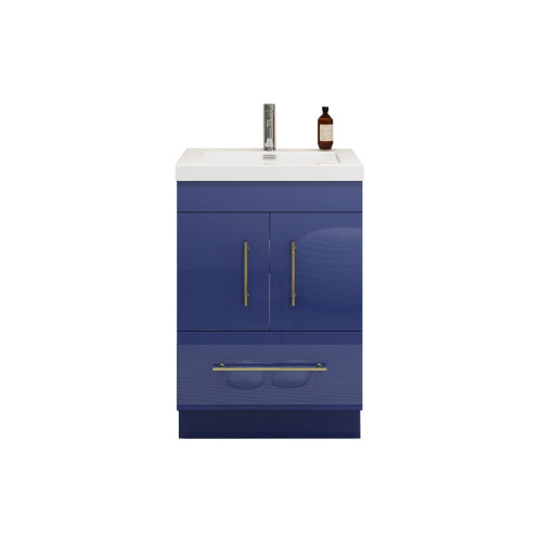 "ELSA 24"" GLOSSY NIGHT BLUE FREESTANDING VANITY WITH REINFORCED ACRYLIC SINK"