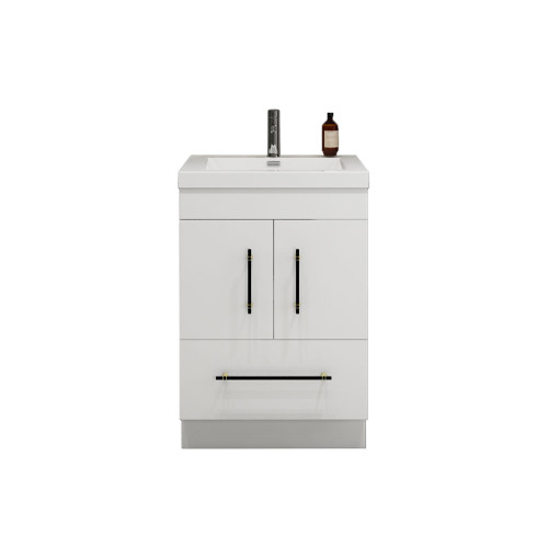 "ELSA 24"" GLOSSY WHITE FREESTANDING VANITY WITH REINFORCED ACRYLIC SINK"