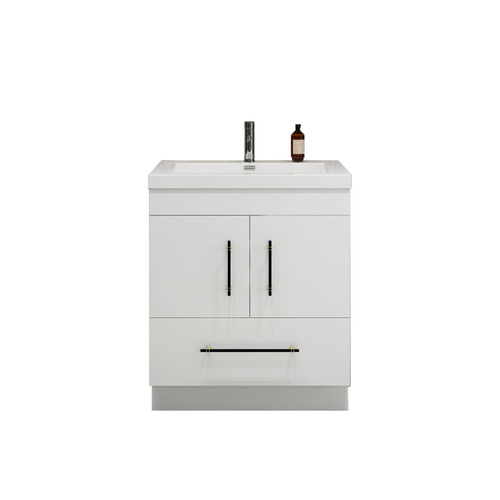"ELSA 30"" GLOSSY WHITE FREESTANDING VANITY WITH REINFORCED ACRYLIC SINKb"
