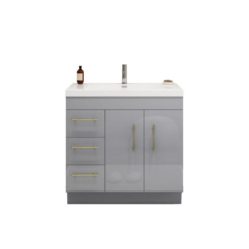 "ELSA 36"" GLOSSY GRAY FREESTANDING VANITY WITH REINFORCED ACRYLIC SINK (LEFT SIDE DRAWERS)"
