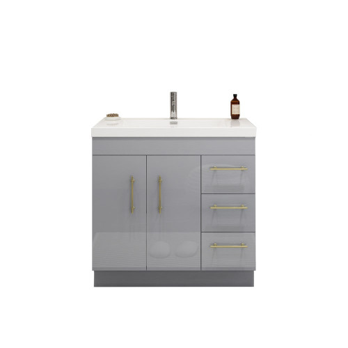 "ELSA 36"" GLOSSY GRAY FREESTANDING VANITY WITH REINFORCED ACRYLIC SINK (RIGHT SIDE DRAWERS)"