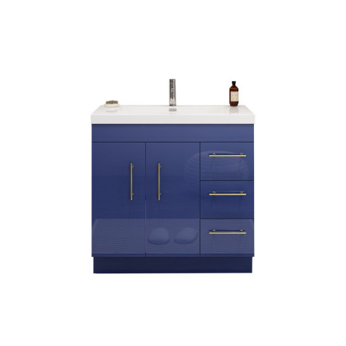 "ELSA 36"" GLOSSY NIGHT BLUE FREESTANDING VANITY WITH REINFORCED ACRYLIC SINK (RIGHT SIDE DRAWERS)"