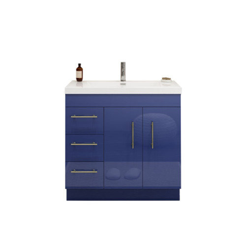 "ELSA 36"" GLOSSY NIGHT BLUE FREESTANDING VANITY WITH REINFORCED ACRYLIC SINK (LEFT SIDE DRAWERS)"