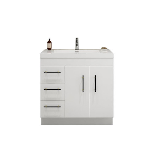 "ELSA 36"" GLOSSY WHITE FREESTANDING VANITY WITH REINFORCED ACRYLIC SINK (LEFT SIDE DRAWERS)"
