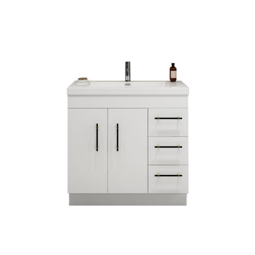 "ELSA 36"" GLOSSY WHITE FREESTANDING VANITY WITH REINFORCED ACRYLIC SINK (RIGHT SIDE DRAWERS)"
