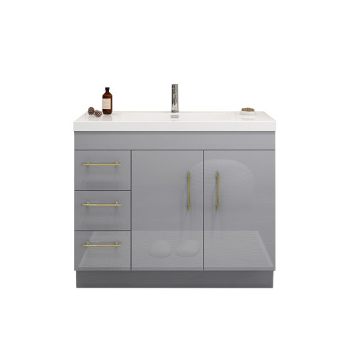 """ELSA 42"""" GLOSSY GRAY FREESTANDING VANITY WITH REINFORCED ACRYLIC SINK (LEFT SIDE DRAWERS)"""