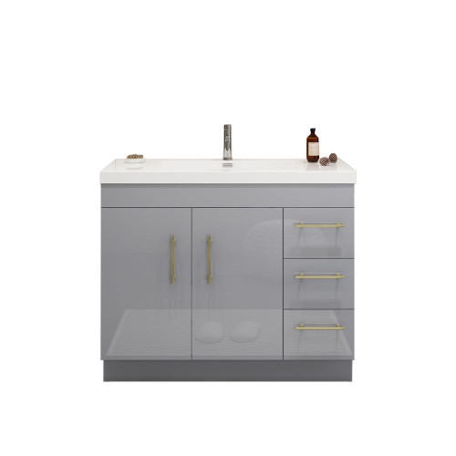 "ELSA 42"" GLOSSY GRAY FREESTANDING VANITY WITH REINFORCED ACRYLIC SINK (RIGHT SIDE DRAWERS)"