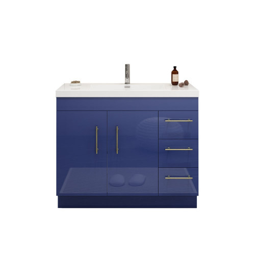 """ELSA 42"""" GLOSSY NIGHT BLUE FREESTANDING VANITY WITH REINFORCED ACRYLIC SINK (RIGHT SIDE DRAWERS)"""