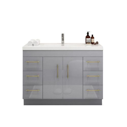 """ELSA 48"""" GLOSSY GRAY FREESTANDING VANITY WITH REINFORCED ACRYLIC SINK"""
