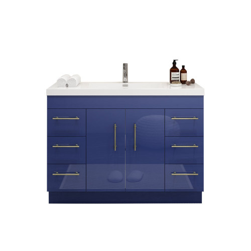 """ELSA 48"""" GLOSSY NIGHT BLUE FREESTANDING VANITY WITH REINFORCED ACRYLIC SINK"""