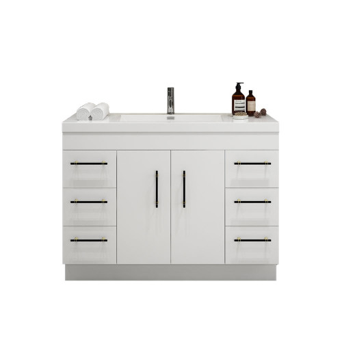 """ELSA 48"""" GLOSSY WHITE FREESTANDING VANITY WITH REINFORCED ACRYLIC SINK"""
