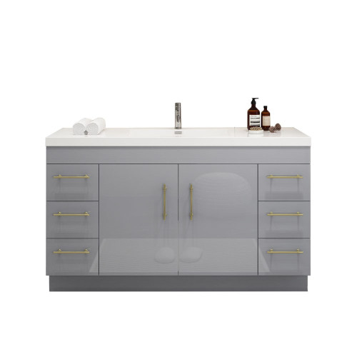 "ELSA 60"" GLOSSY GRAY FREESTANDING VANITY WITH REINFORCED ACRYLIC SINK"