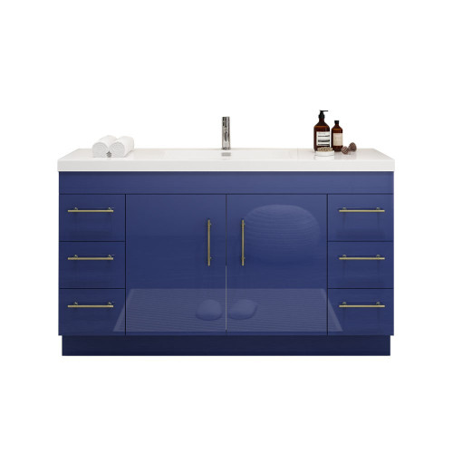 "ELSA 60"" GLOSSY NIGHT BLUE FREESTANDING VANITY WITH REINFORCED ACRYLIC SINK"