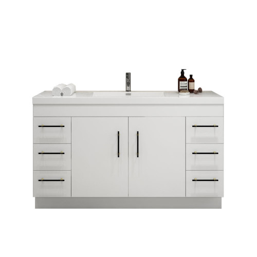 "ELSA 60"" GLOSSY WHITE FREESTANDING VANITY WITH REINFORCED ACRYLIC SINK"