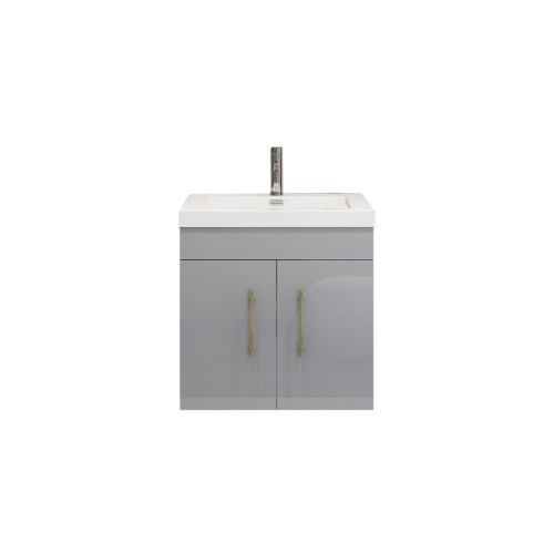 "ELSA 24"" GLOSSY GRAY WALL MOUNTED VANITY WITH REINFORCED ACRYLIC SINK"
