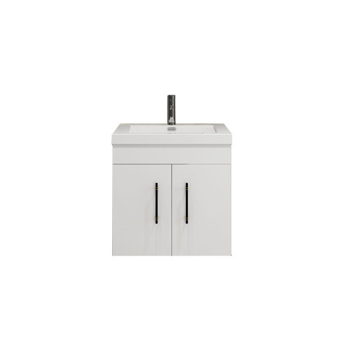 "ELSA 24"" GLOSSY WHITE WALL MOUNTED VANITY WITH REINFORCED ACRYLIC SINK"