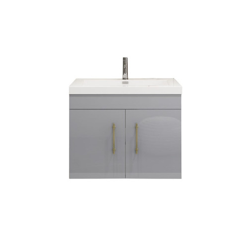 "ELSA 30"" GLOSSY GRAY WALL MOUNTED VANITY WITH REINFORCED ACRYLIC SINK"