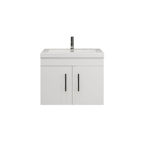 "ELSA 30"" GLOSSY WHITE WALL MOUNTED VANITY WITH REINFORCED ACRYLIC SINK"