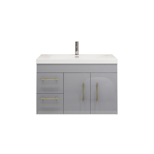"ELSA 36"" GLOSSY GRAY WALL MOUNTED VANITY WITH REINFORCED ACRYLIC SINK (LEFT SIDE DRAWERS)"
