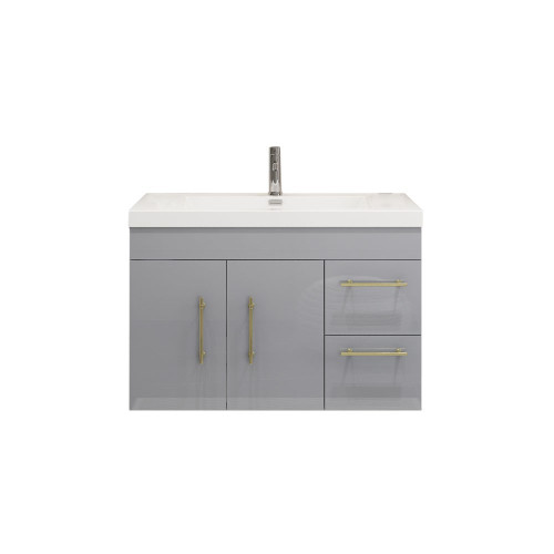 "ELSA 36"" GLOSSY GRAY WALL MOUNTED VANITY WITH REINFORCED ACRYLIC SINK (RIGHT SIDE DRAWERS)"