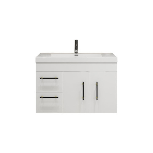 "ELSA 36"" GLOS0SY WHITE WALL MOUNTED VANITY WITH REINFORCED ACRYLIC SINK (LEFT SIDE DRAWERS)"