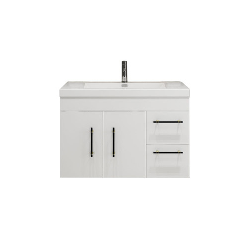 "ELSA 36"" GLOSSY WHITE WALL MOUNTED VANITY WITH REINFORCED ACRYLIC SINK (RIGHT SIDE DRAWERS)"