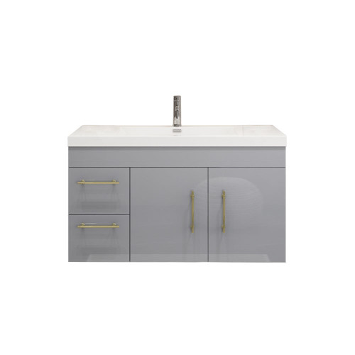 "ELSA 42"" GLOSSY GRAY WALL MOUNTED VANITY WITH REINFORCED ACRYLIC SINK (LEFT SIDE DRAWERS)"