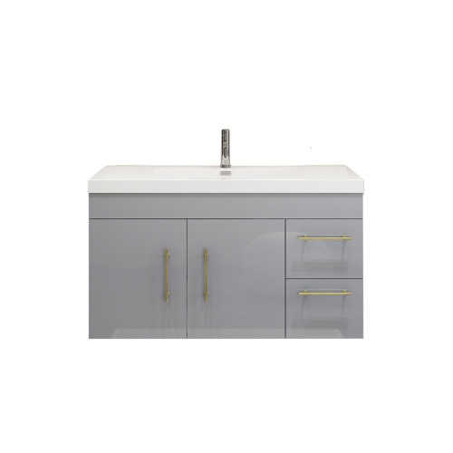 "ELSA 42"" GLOSSY GRAY WALL MOUNTED VANITY WITH REINFORCED ACRYLIC SINK (RIGHT SIDE DRAWERS)"