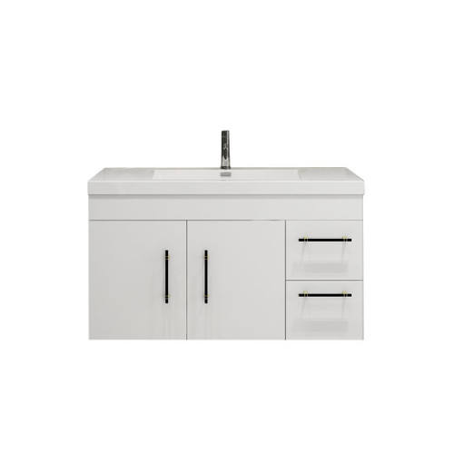 "ELSA 42"" GLOSSY WHITE WALL MOUNTED VANITY WITH REINFORCED ACRYLIC SINK (RIGHT SIDE DRAWERS)"