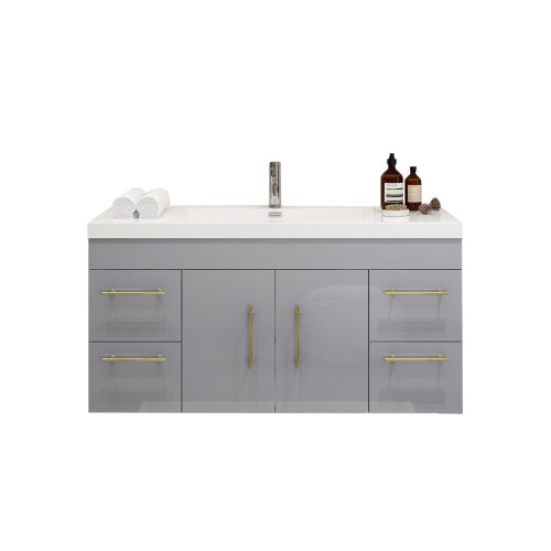 """ELSA 48"""" GLOSSY GRAY WALL MOUNTED VANITY WITH REINFORCED ACRYLIC SINK"""