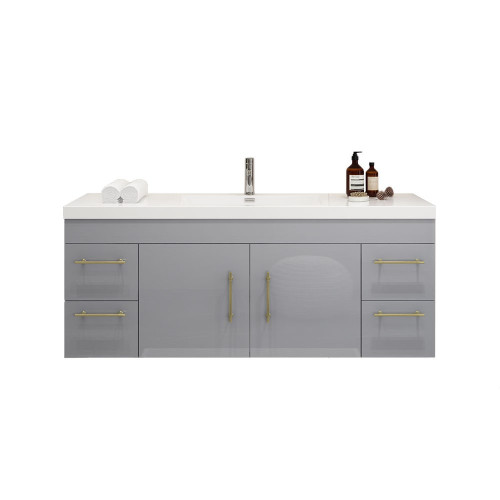 "ELSA 60"" GLOSSY GRAY WALL MOUNTED VANITY WITH REINFORCED ACRYLIC SINK"