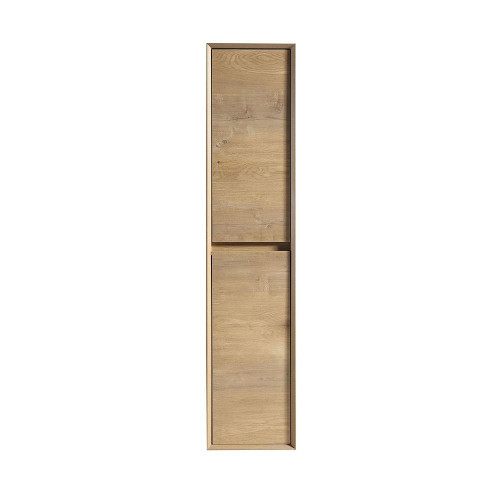 SLIM WHITE OAK BATHROOM LINEN SIDE CABINET