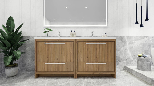 MORENO DOLCE MOD 72'' NATURAL OAK MODERN BATHROOM VANITY WITH ACRYLIC SINK