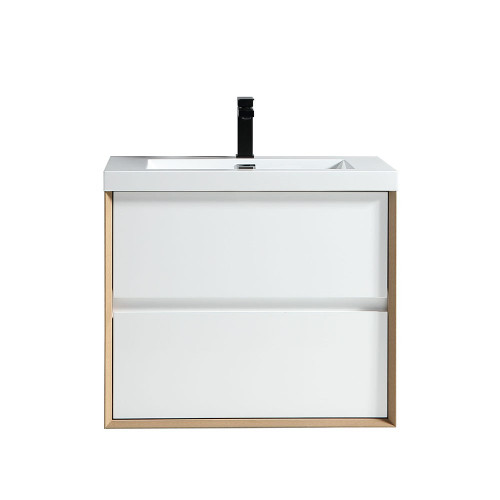 "SLIM 30"" GLOSS WHITE WALL MOUNTED VANITY WITH REINFORCED ACRYLIC SINK"